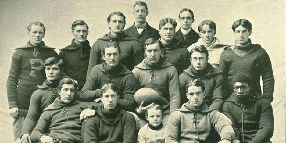 Frank 'Kinney' Holbrook (first row, far right) is the University of Iowa's first Black football student-athlete.