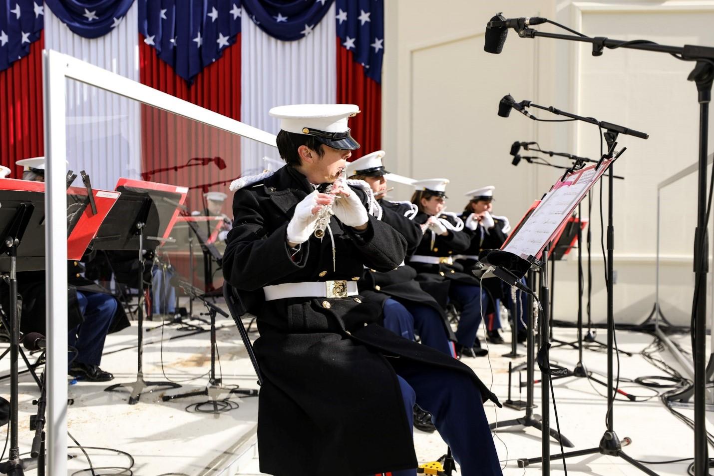 University of Iowa School of Music graduate Kara Santos plays the flute during President Joe Biden's inauguration on January 20, 2021.