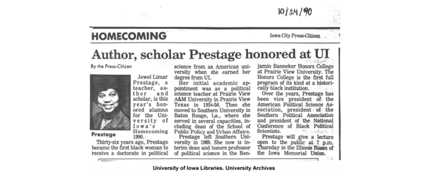 A newspaper clipping from the Iowa City Press Citizen features a celebration at the University of Iowa to honor Dr. Prestage. Credit: University of Iowa Libraries